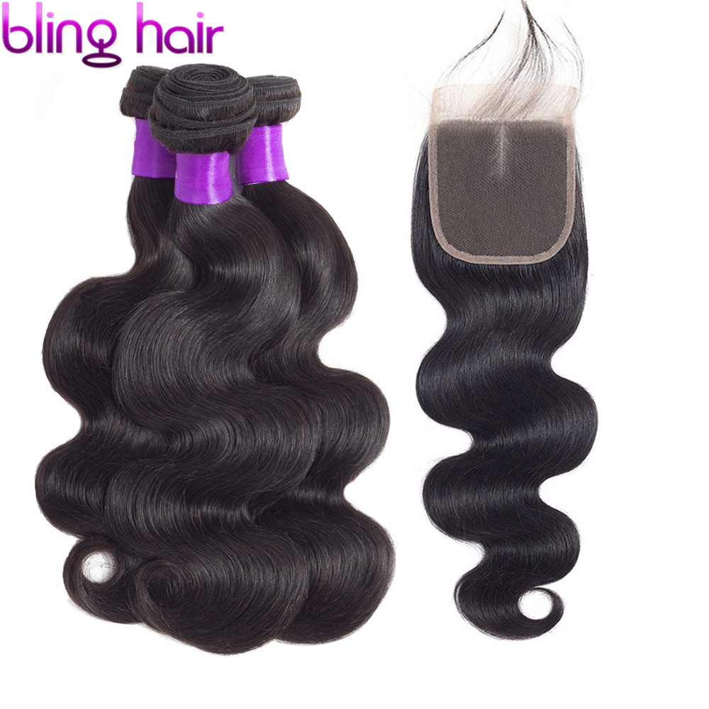 bling hair Body Wave Bundles with Closure Brazilian Hair Weave Bundles and Closure Human Hair Extensions