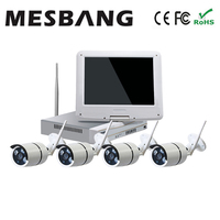 Hot build in 1TB HDD 10 inch monitor wireless wifi cctv IP camera system for home shop security camera system wifi wireless