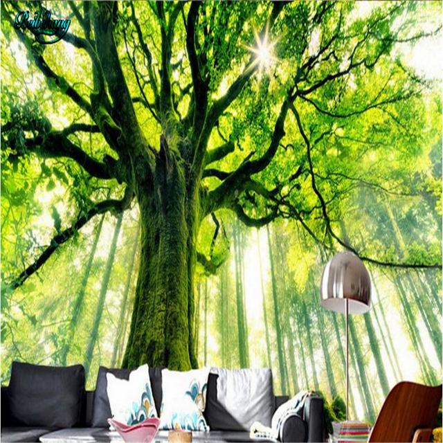 Beibehang Custom Wallpapers Fresco Decorative Aesthetic Dreams Fresh Green Trees Forest Sunlight Background Walls