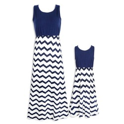 Striped Parent-child Dresses Casual Sleeveless Mini O-Neck Dress Simple Elegant Mother And Daughter Dresses 6