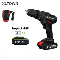 XLTOWN 21V Impact Drill Multifunction Electric Screwdriver Rechargeable Lithium Battery Hand Drill Household power tools