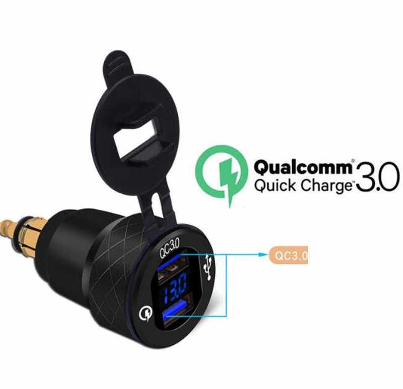 WUPP Power Socket Car Quick Charger QC 3.0 4.2A Aluminum Dual USB Moto Cigarette Lighter LED Display Outlet Adapter