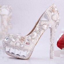 Luxurious Elegant Ivory Wedding Bridal Shoes Rhinestone with Imitation Pearl 14cm Super High Heel Wedding Dress Shoes