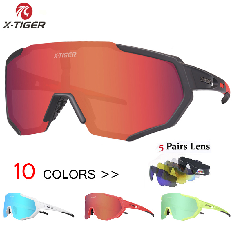 X-TIGER 2019 Polarized 5 Lens Cycling Glasses Road Bike Cycling Eyewear Cycling Sunglasses MTB Mountain Bicycle Cycling Goggles(China)
