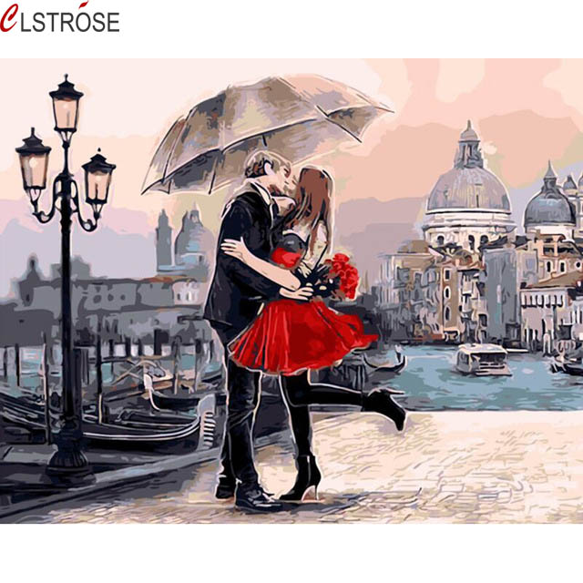 CLSTROSE Direct Selling Rushed Romantic Couple Kissing Diy Hand Painted Drawing By Numbers Wall Art Home Decor Pictures Unframed
