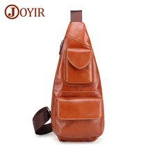 JOYIR Mens Genuine Leather Retro Sling Chest Bag Casual Messenger Crossbody For Men Pack Travel Shoulder Man