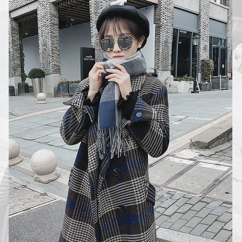Xy008 Manteau Blue Section Hiver Lâche Plaid Coréenne Femelle Automne Laine Femmes Mode Nouveau Rétro En 2019 Moyen De Longue breasted Single 8ARHP