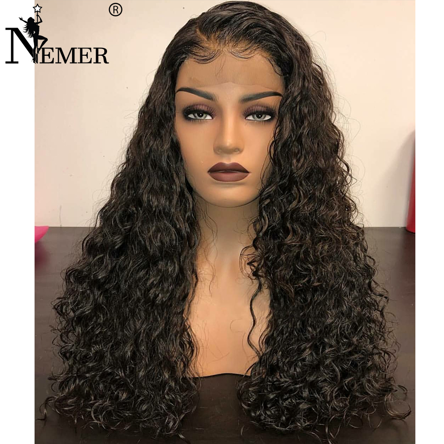 Lace Wigs Nemer Curly 360 Lace Frontal Wig For Black Woman 150%/180% Density Lace Front Human Hair Wig Brazilian Remy Preplucked Baby Hair To Help Digest Greasy Food Human Hair Lace Wigs