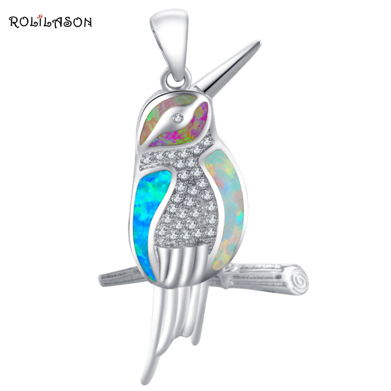 ROLILASON Lovely Bird Designer Color Fire Opal 925 Silver Necklace Pendants Fashion jewelry for women OP696 vintage faux opal floral necklace jewelry for women