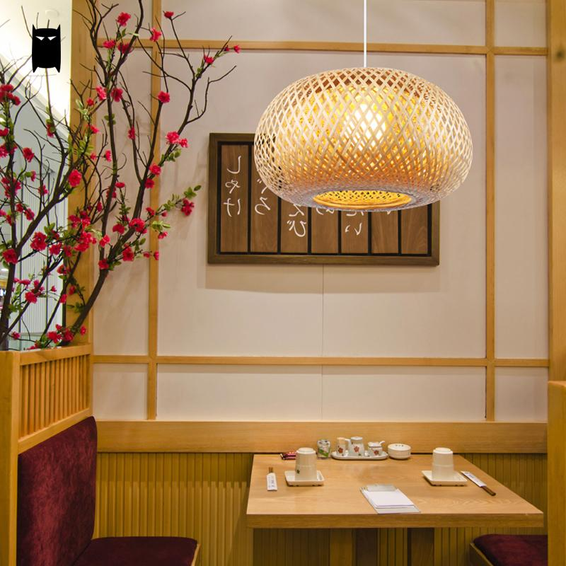 Us 1850 Natürliche Bambus Wicker Rattan Laterne Käfig Schatten Anhänger Leuchte Asiatischen Rustikalen Koreanisch Japanisch Tatami Lampe Esstisch