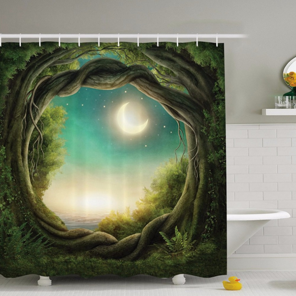 Natural shower curtain - Natural Forest Moonlight Digital Printing Polyester Shower Curtain Waterproof Family Bathroom With Shower Curtain Hooks