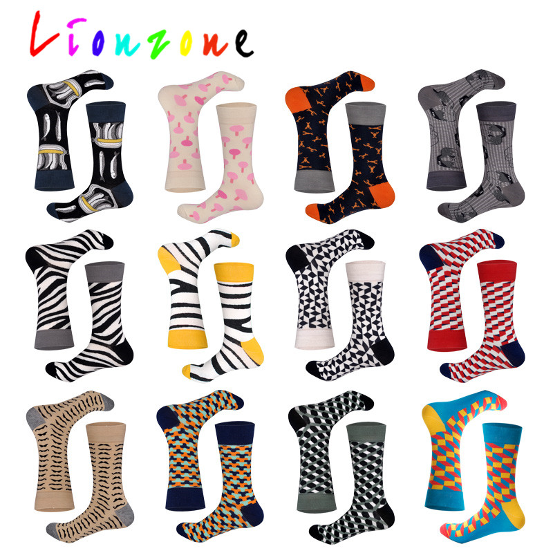 LIONZONE New Arrived  Happy Socks With Saury Lobster Skeleton Disenador StreetWear Calcetines Casual Crew Socks Funny Gift