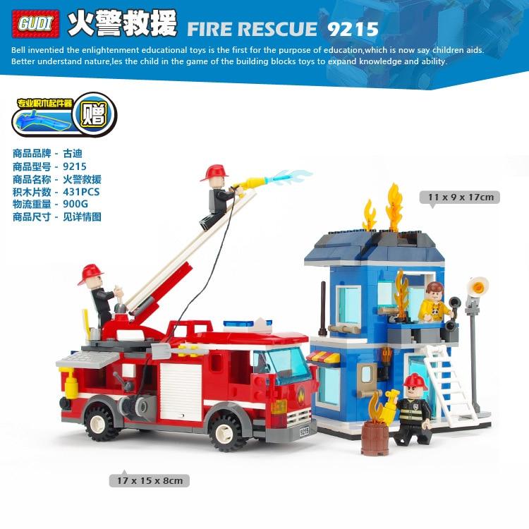 Gudi City Fire Rescue Single Bridge Fire Truck Building Block  figures Kids Educational Toys 9215 Lepin Compatible