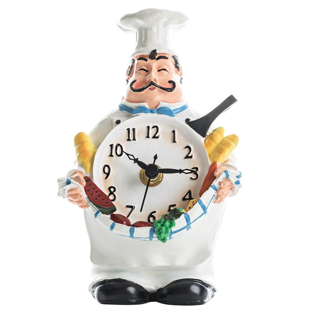 Cute chef sculpture desktop resin clock Creative cartoon bearded home decorative clock
