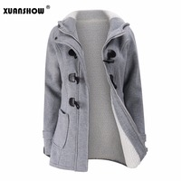XUANSHOW Winter Jacket Women Hooded Zip up Classic Cotton Velvet Thicken Coat Keep Warm Clothes O