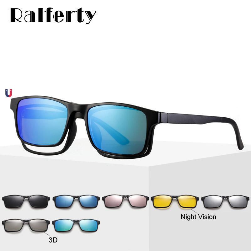 Ralferty Magnet Sunglasses Men Polarized Clip On Glasses Women Square Eyeglass TR90 UV400 3D Optic Frames 7 In 1 Oculos A2247