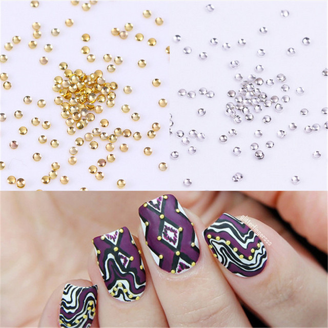 100Pcs Mini Dot Nail Art Studs 3D Nail Decoration UV Gel Rhinestones ...