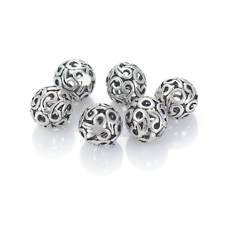 10 Pc Retro Vintage Cast Brass Tibetan Round Hollow Filigree Antique Design Bead For Diy Jewelry Making Findings Accessories