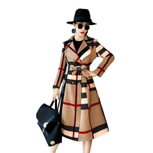 Autumn winter Women Vintage trench coat office lady patchwork color Outwear temp