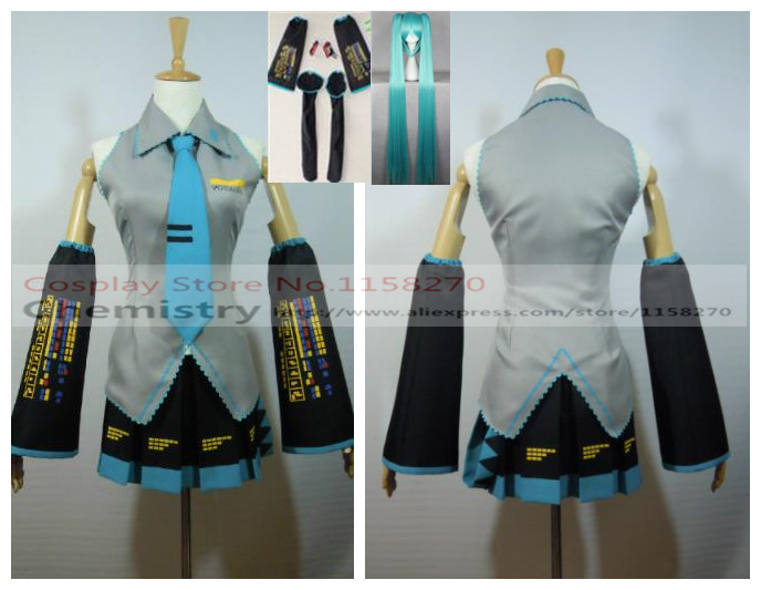 Free shipping Vocaloid Hatsune Miku Cosplay Costume Full set