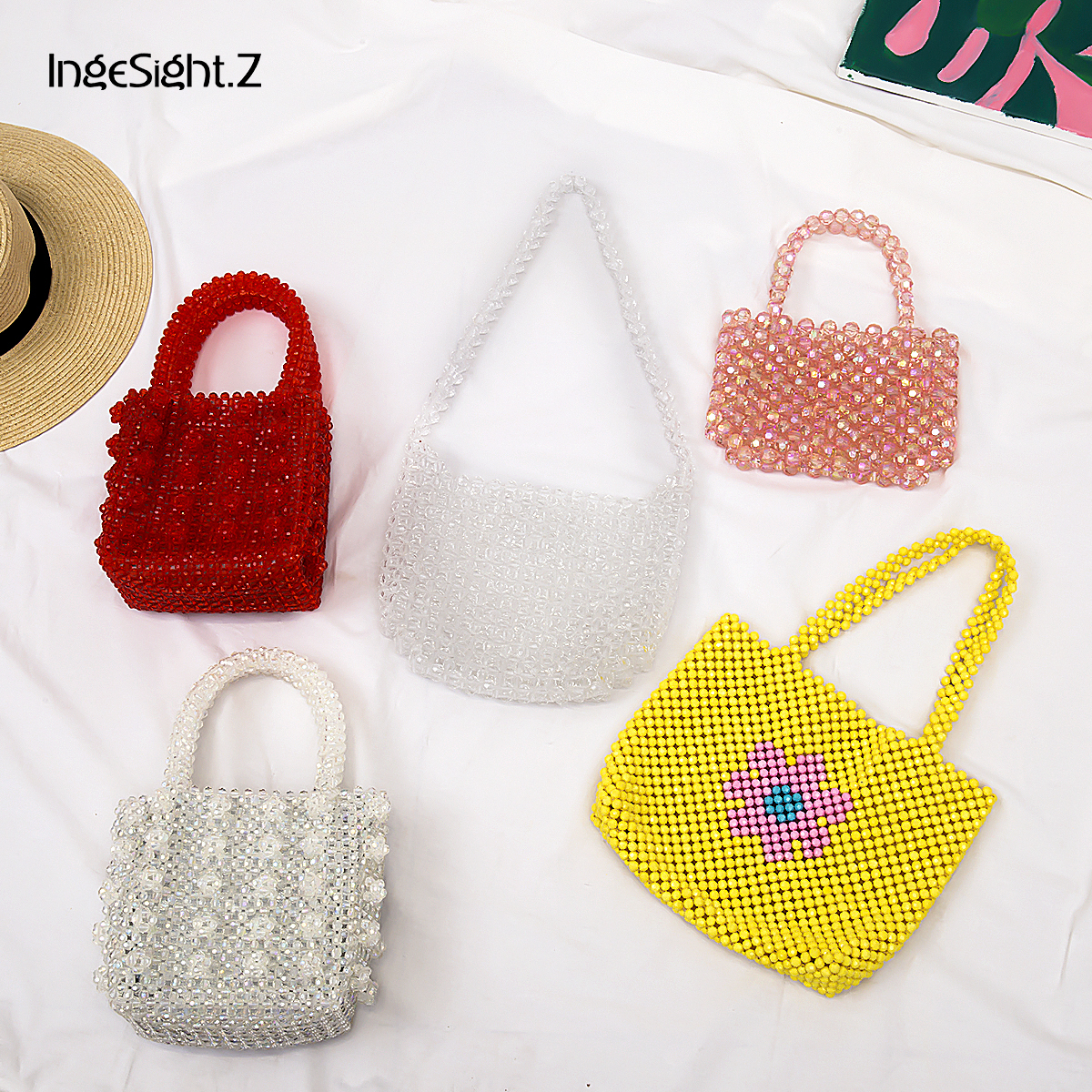 IngeSight.Z Luxury Handmade Pearl Bags Elegant Acrylic Beaded Handbags Mini Cross Body Bags For Women Female Wedding Jewelry