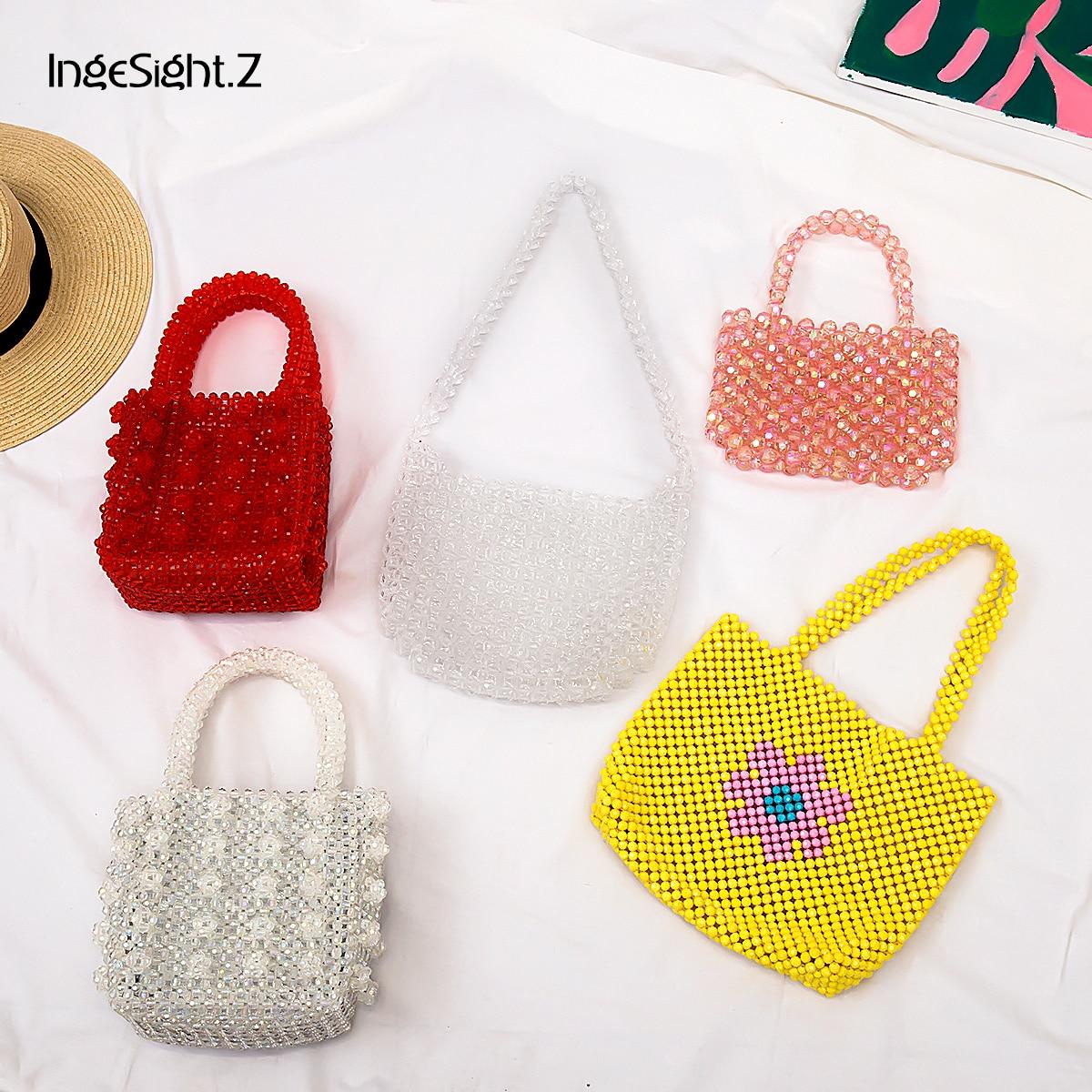 IngeSight.Z Luxury Handmade Pearl Bags Elegant Acrylic Beaded Handbags Mini Cross Body Bags For Women Female Wedding Jewelry