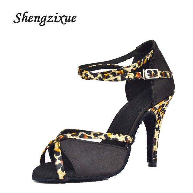 10CM High Heel Women Latin Dance Shoes Leopard Cross Buckle Soft Soles  Indoor Dance Shoes Rumba Salsa Ballroom Dance Sneakers 692bf5c7feeb