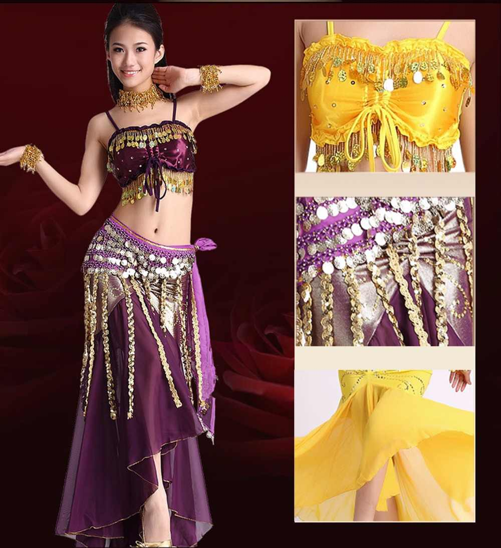 bc905c579c HOT SALE! belly dance costumes satin bra top+chiffon skirt+belt 3pcs belly