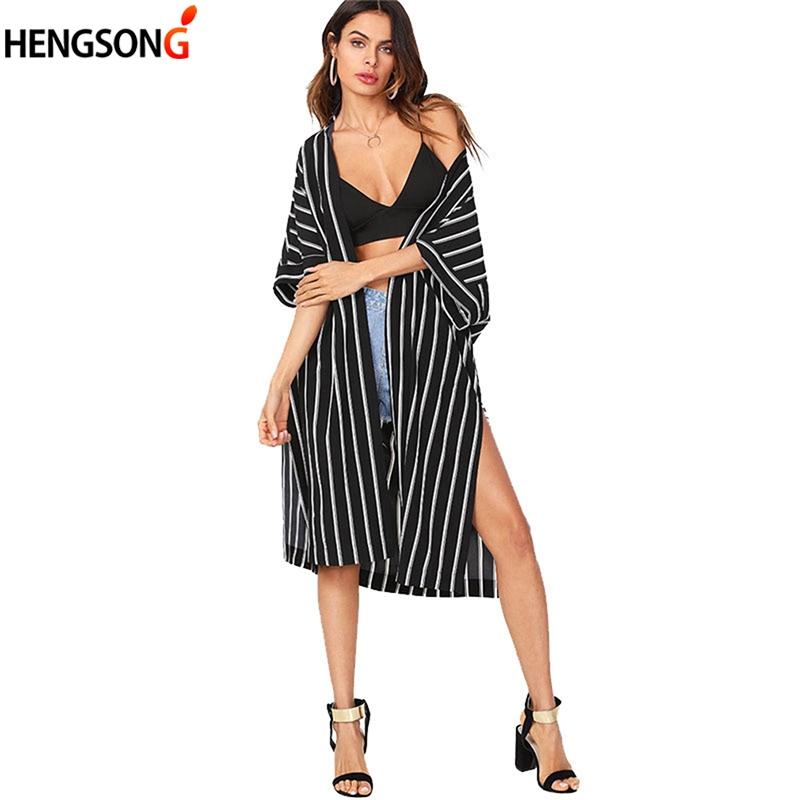 Vertical Striped Long Blouse 2018 New Summer 3/4 Sleeve Split Casual Kimono Black And White Striepd Shirts Women Clothing