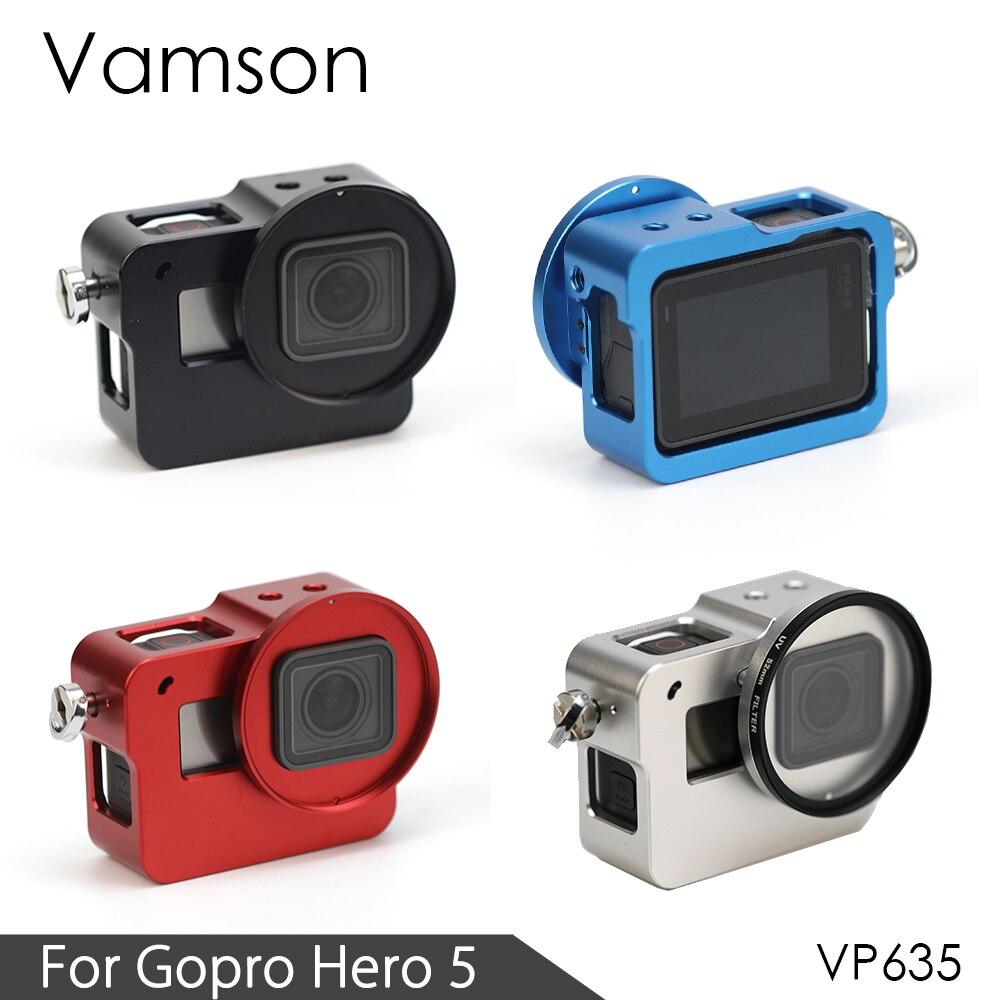 Galleria fotografica Vamson for Gopro Hero 5 Accessories 5 Colors CNC Aluminum Case Metal Protective Housing case Frame + Lens Cap Cover VP632