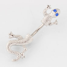 Большое кольцо на пупок в виде ящерицы gecko модное женское