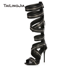 Women Black Knee High Zipper Gladiator Sandals Sexy Strappy Heels Evening Dress Shoes Ladies High Heel Summer Boots Big Size newest 2017 name brand black gold strap high heel sandals back zipper cage shoes woman women size 34 41 gladiator sandals boots