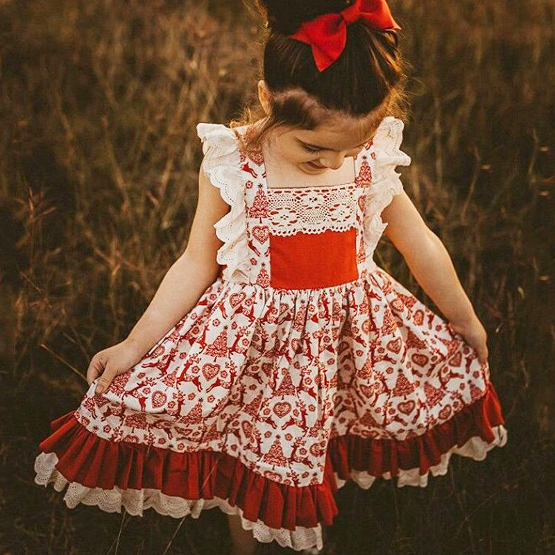 0-5 T Weihnachten Kleinkind Kinder Baby Mädchen Blumen Kleid Party Pageant Weihnachten Vestido Infant Spitze Rüsche Kleidung Nette Outfits