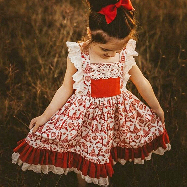 f68217f6186a4 0-5T Christmas Toddler Kids Baby Girls Floral Dress Party Pageant Xmas  vestido Infant Lace ruffle Clothing cute outfits