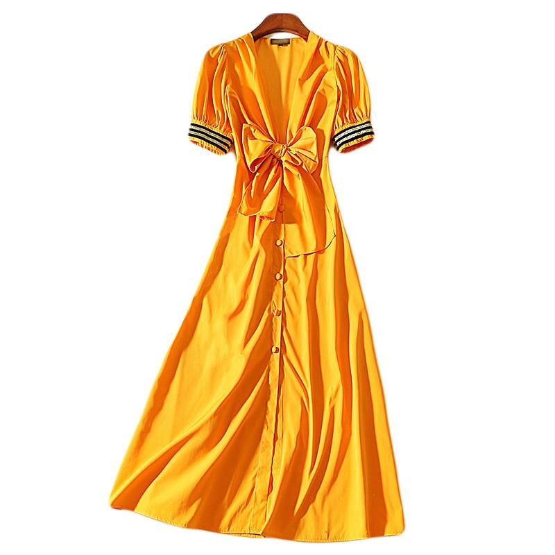 XF 1225 8 SS High Quality V Neck Vintage Dress Fashion Designer Runway Summer Women High Waist Slim Short Sleeve Yellow Dress