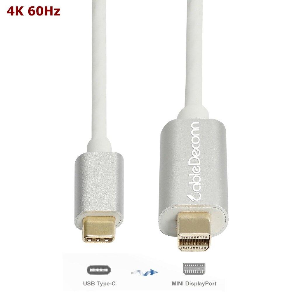 USB-C a Mini displayPort adattatore di Tipo C mini dp Maschio a maschio Cavo per Macbook 2017 16 15 Dell xps