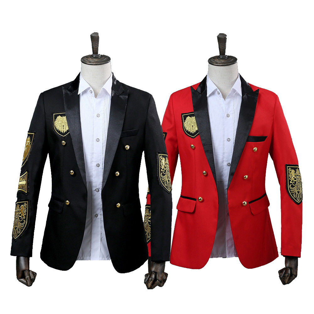 2018 Gothic Black and Red Long Sleeve Men Blazer Military Medal Loose Coat Stage Singer Suit Jacket Annual Performance Costumes