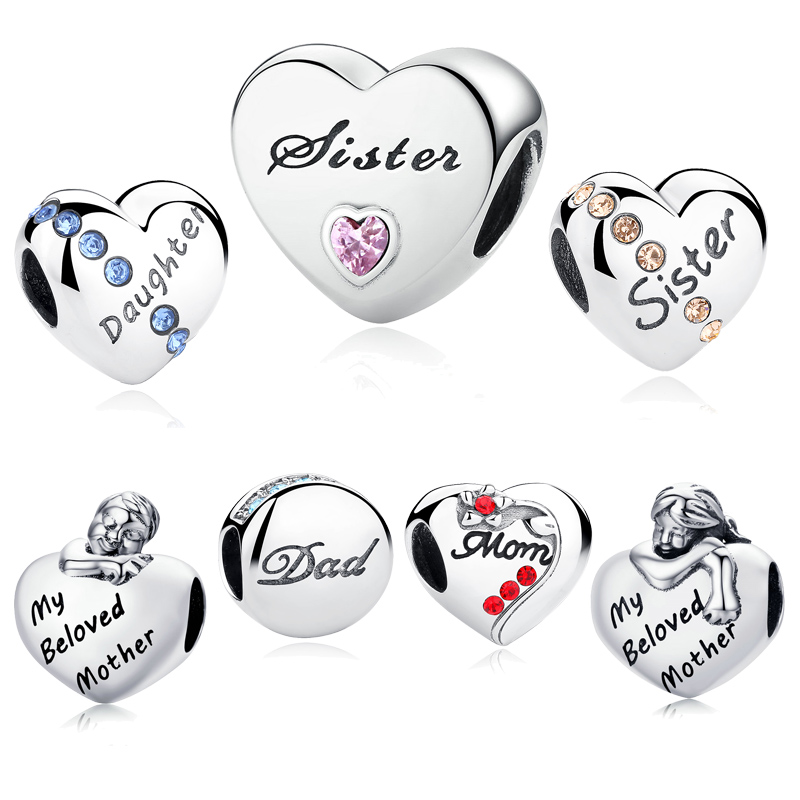 LJP New Fashion 100% 925 Sterling Intimate Daughter Sister, Mom Dad Love Charm fit Original Pandora Bracelet DIY Beads Jewelry mom love daughter forever with 100