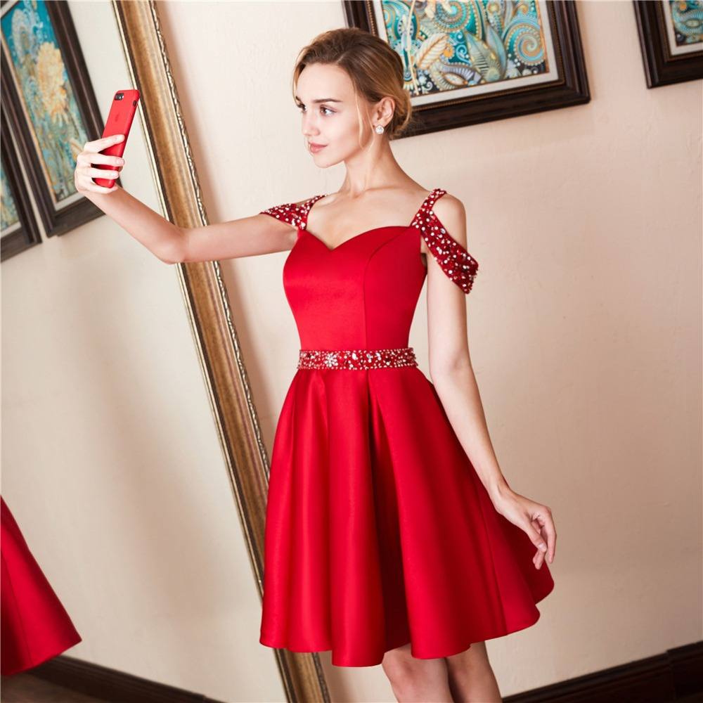 Short   Prom     Dress   Cocktail Gown Sexy Red Short   Prom     Dress   Beads Above Knee Vestidos de Coctel Backless Cocktail Party   Dresses