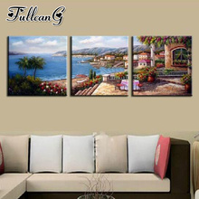 FULLCANG diy 3pcs/set diamond embroidery sale seaside garden triptych 5d mazayka painting full square/round drill FC906