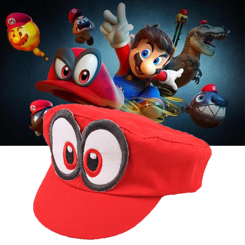 Super Mario Odyssey  Cosplay Hat Adult Kids Anime Baseball Caps Unisex Handmade Adjustable Red Hat