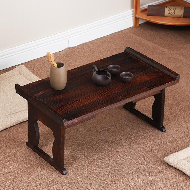 €60.83 16% de réduction|Table à thé Antique japonaise pieds pliants  Rectangle 60 cm Paulownia bois traditionnel CHABUDAI meubles asiatiques  salon ...