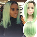 Green Ombre Lace Front Bob Wig Silk Colored Wigs For White Women Peluca Sinteticas Lace Frontals Pelucas Pelo Natural Cosplay