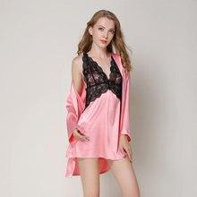 6795044bf20 Пижама комплект пикантные Для женщин одеяние и платье устанавливает  Спагетти ремень должен мини-платье ночи + халат Кружев..