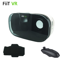 "FIIT VR 2N 3D Glasses Virtual Reality Google Cardboard for ""4.0 to 6.5"" Phone + Black Bluetooth Wireless Gamepad"