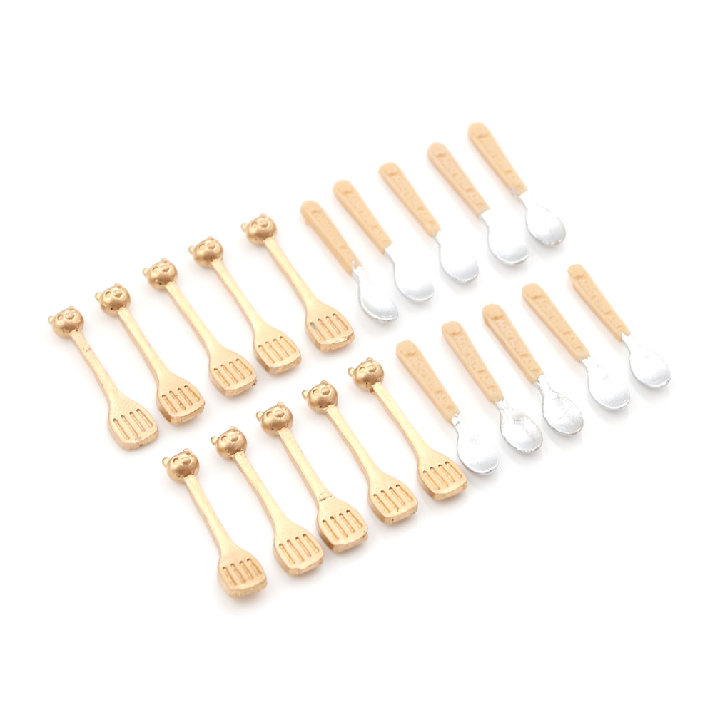 10PCS 1:12 Dollhouse Soup Spoon Tableware Simulation Kitchen Food Furniture Toys Miniature Accessories