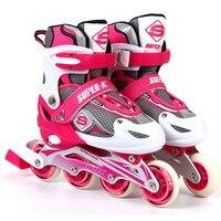 SUPER K Inline PU Wheels Skate Kids Roller Blades Shoes Adjustable Sizes Boys/Girls Skates Lovely Children Skating Shoes