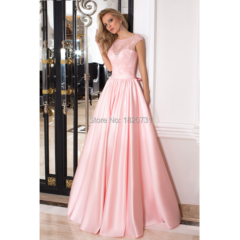 Elegant Pink Satin   Prom     Dresses   2019 Appliques With Bow Cap Sleeve Scoop Lace Up Back Formal Party   Dresses   Vestidos De Festa