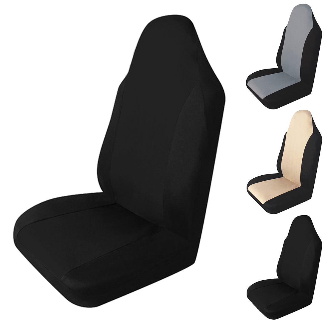 Universal  Car Seat Covers Black 8pc Set Washable Airbag Compatible For Toyota