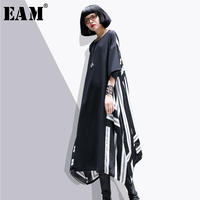 EAM 2018 New Spring Summer Loose Casual Back White Stripe Stitching Chiffon Big Size Tide